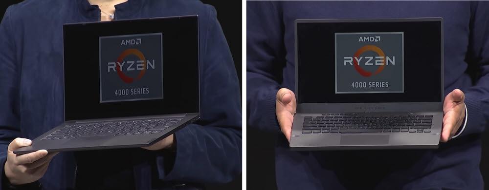 CES 2020 AMD 키노트 연설에서 공개된 울트라노트북 레노버 요가 슬림7(왼쪽)과 게이밍 노트북 에이수스 ROG 제피루스 G14 모두 이전 세대보다 작고 가볍고 강력해졌다. [사진=AMD]