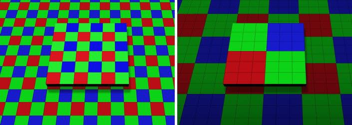 아이소셀 브라이트 HM1이 작동하는 밝은 곳(왼쪽)과 어두운 곳 촬영 시 픽셀 비교 [사진=삼성전자]