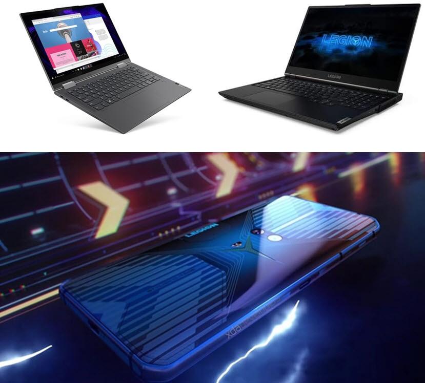 레노버는 5G 노트북 요가 5G(왼쪽 위)를 선보였으며, 올해 안으로 게이밍 노트북 리전5(오른쪽 위)와 게이밍 5G 스마트폰 리전을 출시한다. 스마트폰의 경우, 퀄컴 스냅드래곤 865 플러스를 탑재했다. [사진=레노버, xda developers]
