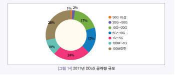 KISA가 밝힌 지난해 DDoS 공격량 규모를 보면 50Gbps 이상 트래픽을 유발하는 대형공격의 비중은 1% 내외이며 100Mbps 미만 공격이 28% 이상 다수를 차지하는 것으로 확인할 수 있다.