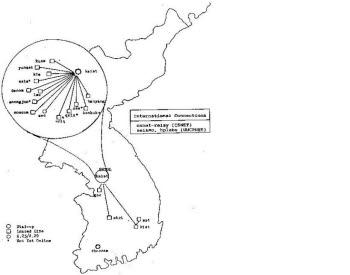 1985년 당시 국내 인터넷 네트워크 망 지도