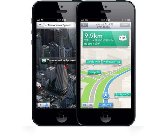 애플 아이폰5는 한국에서 `턴바이턴 내비게이션`을 지원한다.