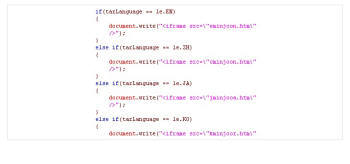 국내 유명 정치사이트에서 발견된 악성코드. 악성파일 제작자는 최종 Exploit 코드를 4개로 구분하여 사용하였는데 영어(EN), 중국어(ZH), 일어(JA), 한국어(KO) 등의 순서로 조건문이 실행되도록 작성하였다.