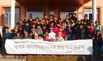 다음커뮤니케이션(대표 최세훈)은 국제구호개발 NGO 굿네이버스(회장 이일하)와 함께 타지키스탄 파흐타코르 지역에 제 8호 `지구촌 희망학교`를 완공했다고 15일 밝혔다.