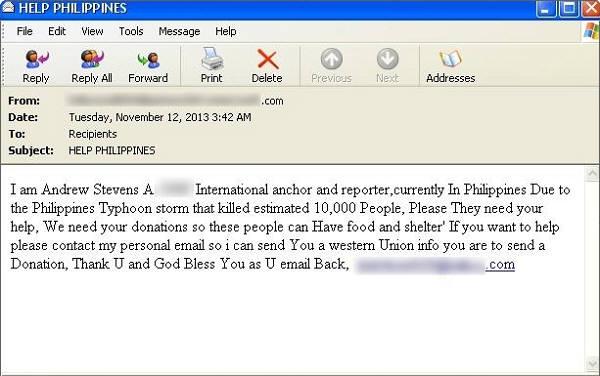 필리핀 태풍 피해를 언급하며 기부를 유도하는 메일(출처: 시만텍)
