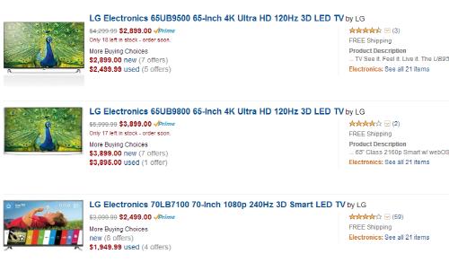 ▲ 아마존에서 판매하는 LG전자 UHD TV