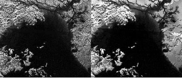 토성의 가장 큰 달 타이탄의 탄화수로로 된 바다인 크라켄메어.<사진=나사/제트추진연구소>