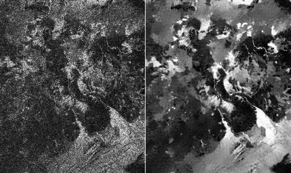 두장의 사진 가운데 왼쪽은 카시니에 장착된 기존의 합성개구레이더(SAR)촬영 사진이며 오른쪽은 스페클노이즈를 없앤 타이탄 지표면의 사진이다. <사진=나사/제트추진연구소>