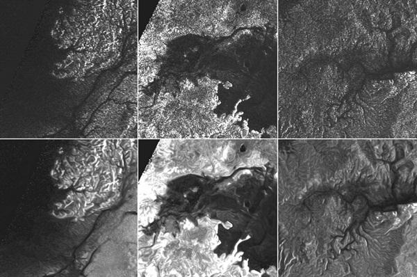 전송노이즈로 흐렸던 사진(위)의 스페클반점을 제거해 확보한 보다 또렷해진 토성의 달 타이탄의 토양과 물길 사구 등의 모습(아래). <사진=나사/제트추진연구소>