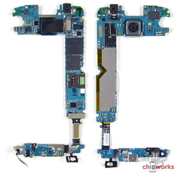 칩웍스는 삼성 갤럭시S6/S6엣지를 분해한 결과 독자개발한 엑시노스333(섀넌333)모뎀칩과 와이파이모듈이 사용된 점에 주목했다. 이를 바탕으로 삼성의 칩 시장 입지가 급속히 확대될 것으로 전망했다. 사진=칩웍스