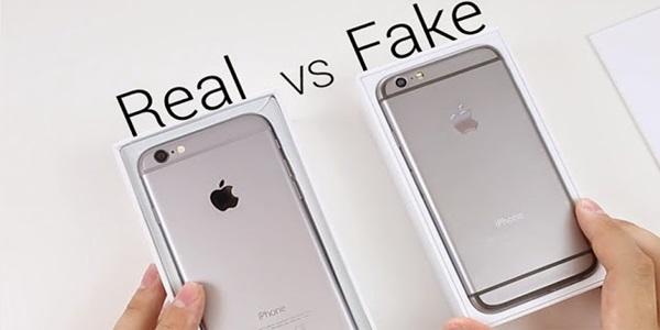 진짜 아이폰과 가짜 아이폰은 외관상 구별하기가 쉽지 않다. 왼쪽의 애플브랜드(진짜)가 오른쪽의 가짜보다 더 선명하다. 사진=유튜브 가젯투유스 동영상