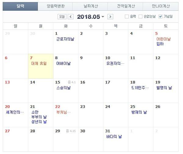 사진=5월 5일 어린이날이 토요일임에 따라 5월 7일 월요일이 대체공휴일로 지정됐다.