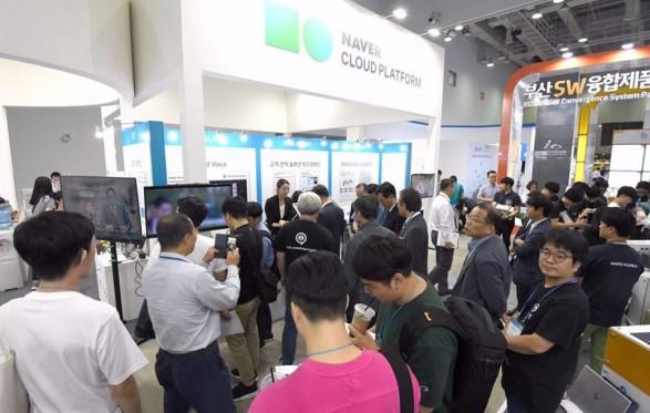 네이버비즈니스플랫폼이 7개 협력사와 함께 '클라우드 엑스포 2018'에 참여해 다양한 서비스를 선보였다.