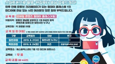 SBA, '모바일 콘텐츠 원데이 클래스' 교육생 모집…월 2회, 인원별 특화과정 진행