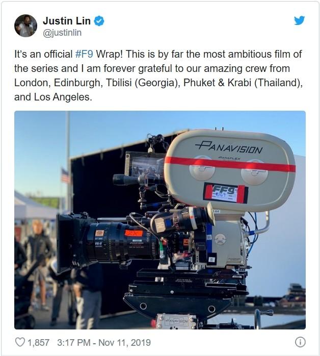 '분노의 질주' 시리즈 9번째 영화 '분노의 질주 9'이 모든 촬영을 마무리 했다. 연출을 맡은 저스틴 린 감독이 11일(현지시각) 본인의 SNS를 통해 이 같은 소식을 전했다. (사진 = 저스틴 린 감독 SNS 캡쳐)