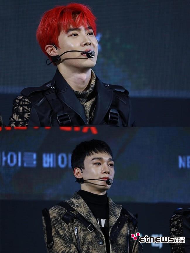 2일 오후 서울 중구 DDP에서 열린 '6 언더그라운드' 그린카펫 행사에 참석한 '엑소' 멤버 수호와 첸. (사진 = 성란)
