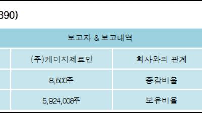 [ET투자뉴스][KG케미칼 지분 변동] (주)케이지제로인 외 8명 0.06%p 증가, 45.52% 보유