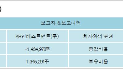 [ET투자뉴스][케이프 지분 변동] KB인베스트먼트(주) 외 1명 -4.96%p 감소, 4.86% 보유