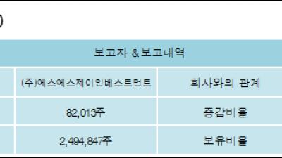 [ET투자뉴스][아리온 지분 변동] (주)에스에스제이인베스트먼트0.22%p 증가, 6.63% 보유
