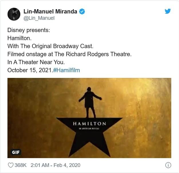 4일(현지시각) 린-마누엘 미란다가 자신의 트위터를 통해 '해밀턴'의 극장 상영 소식을 알렸다. (이미지 = 린-마누엘 미란다 SNS 캡쳐)