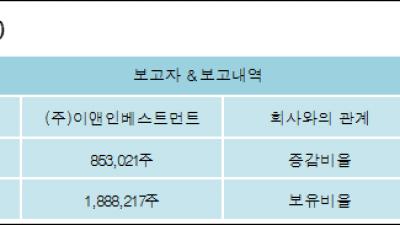 [ET투자뉴스][컨버즈 지분 변동] (주)이앤인베스트먼트 외 1명 2.05%p 증가, 5.3% 보유
