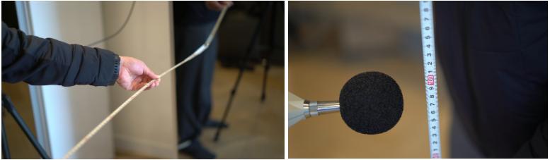 소음 측정은 의류 관리기로부터 1미터, 바닥으로부터 1미터 떨어진 곳에서 측정했다