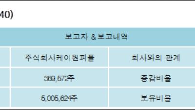 [ET투자뉴스][제일제강 지분 변동] 주식회사케이원피플 외 2명 1.25%p 증가, 16.97% 보유