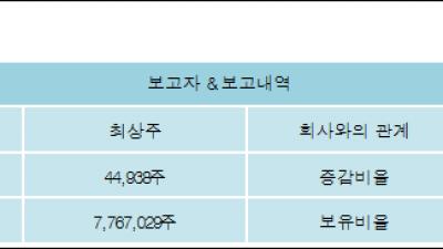[ET투자뉴스][KMH 지분 변동] 최상주 외 8명 -0.64%p 감소, 33.96% 보유