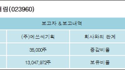 [ET투자뉴스][에쓰씨엔지니어링 지분 변동] (주)에쓰씨기획 외 5명 0.14%p 증가, 52.15% 보