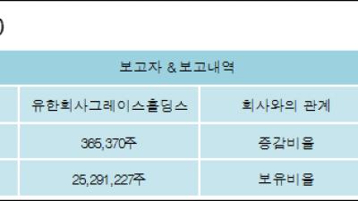 [ET투자뉴스][한진칼 지분 변동] 유한회사그레이스홀딩스 외 8명 0.61%p 증가, 42.74% 보유