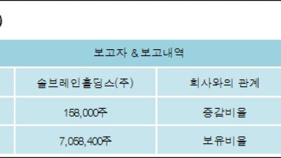 [ET투자뉴스][나우IB 지분 변동] 솔브레인홀딩스(주) 외 8명 1.64%p 증가, 73.09% 보유