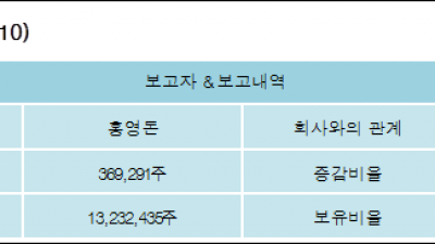 [ET투자뉴스][에스와이 지분 변동] 홍영돈 외 8명 1.47%p 증가, 52.86% 보유