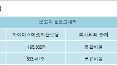 [ET투자뉴스][예스티 지분 변동] 마이다스에셋자산운용 외 1명 -1.36%p 감소, 3.7% 보유