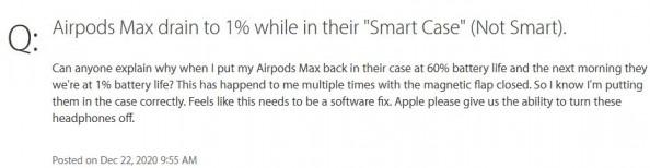 사용자는 에어팟 맥스 전용 스마트 케이스가 '스마트하지 않다'고 표현했다. 사진=애플지원포럼/MrFling