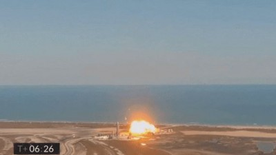 'SN9'은 시험 비행 성공 이후 착륙 도중 폭발했다. 사진=스페이스X