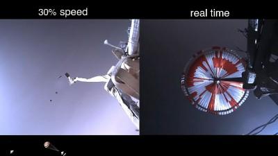착륙을 위해 낙하산을 펼치는 퍼서비어런스. 사진=NASA
