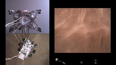 로버가 화성 표면에 가까워지자 붉은 먼지가 흩날린다. 사진=NASA