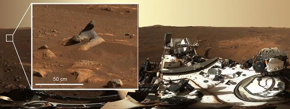 퍼서비어런스 카메라가 줌 기능으로 촬영한 바람에 깎인 바위. 사진=NASA/JPL-Caltech