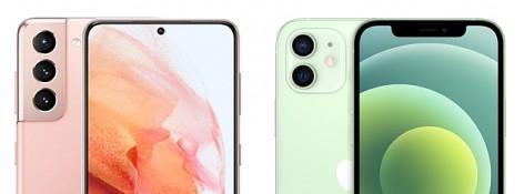 왼쪽 갤럭시S21, 오른쪽 아이폰12 상단. 사진=삼성전자/애플