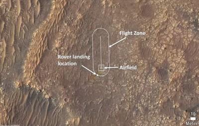드론 인제뉴어티 시험 비행 구역. 사진=NASA/JPL-Caltech
