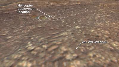 인제뉴어티 비행장과 퍼서비어런스가 이를 관찰할 위치가 표시됐다. 사진=NASA/JPL-Caltech