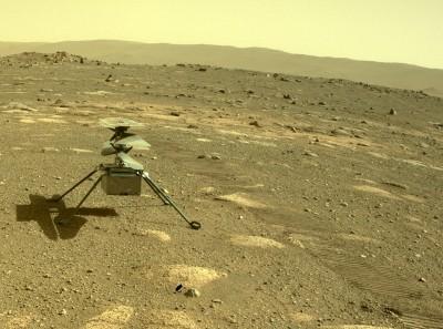 완전히 분리된 드론 인제뉴어티. 화성 지표면을 밟았다. 사진=NASA/JPL-Caltech