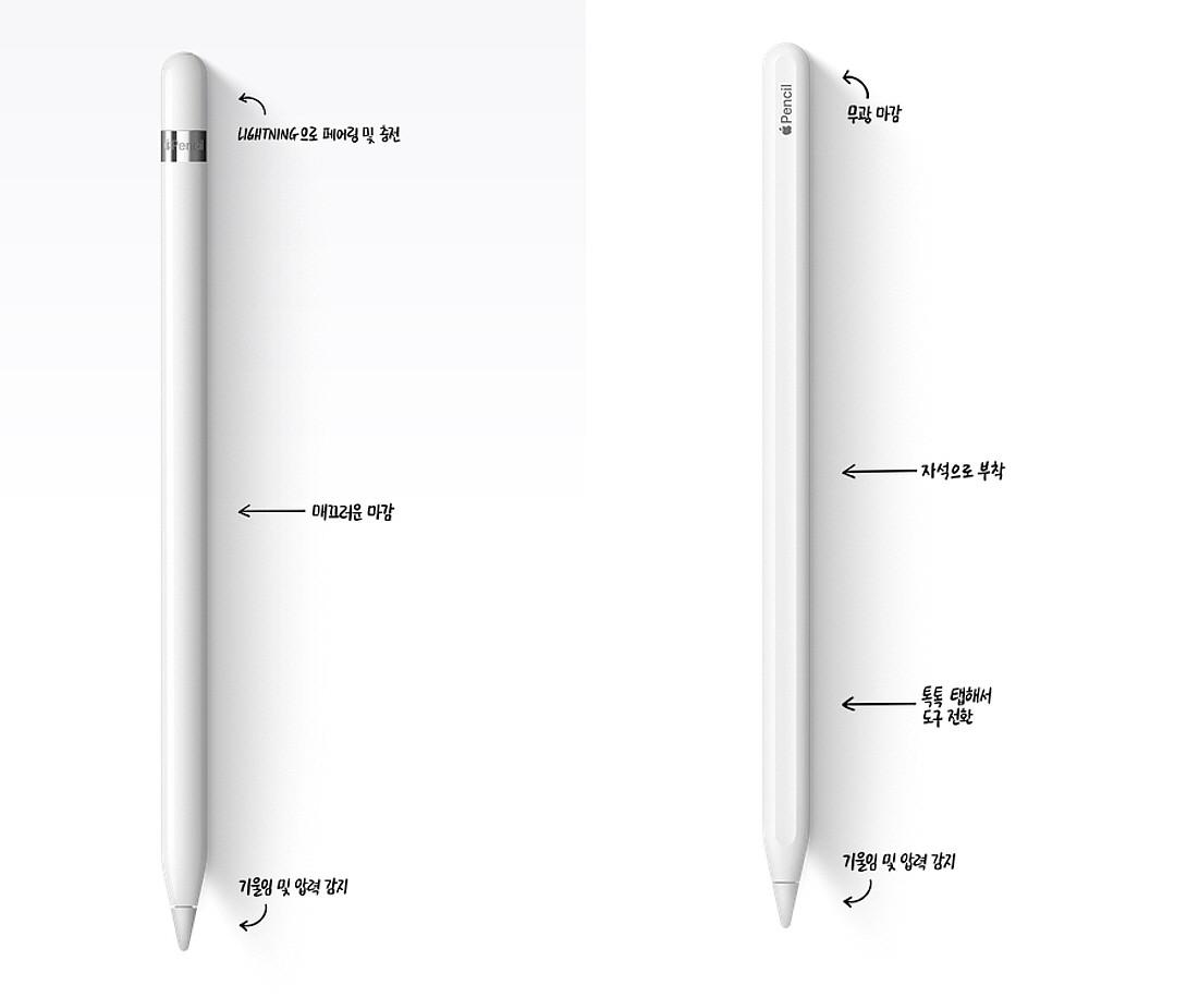 왼쪽 애플펜슬 1세대, 오른쪽 2세대. 사진=애플