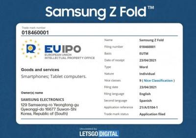 삼성이 23일(현지시각) 신청한 '삼성Z폴드' 상표권. 설명엔 '스마트폰·태블릿PC'라고 쓰여있다. 사진=레츠고디지털