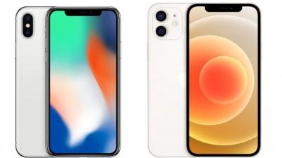 왼쪽 아이폰X와 오른쪽 아이폰12 노치. 사진=애플