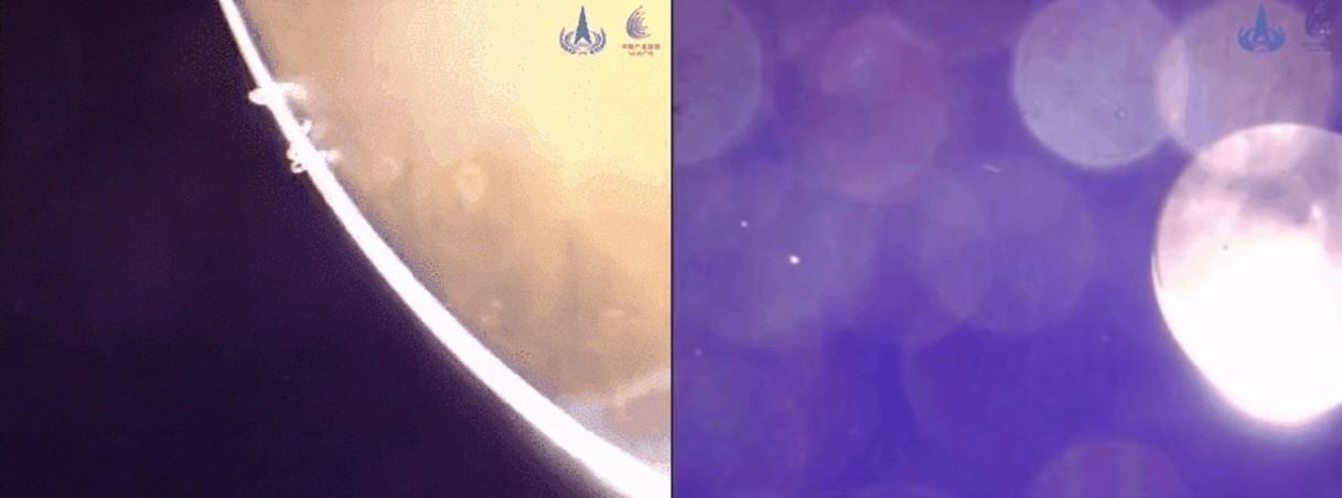 로버와 착륙선이 궤도선에서 분리되는 모습. 사진=CNSA