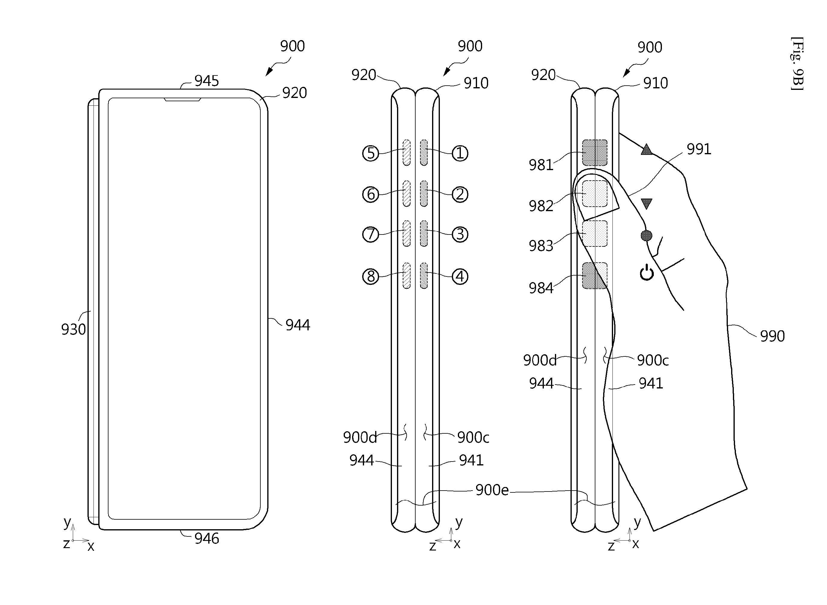 '가상 버튼'이 적용된 삼성 폴더블폰 특허 이미지. 사진=WIPO