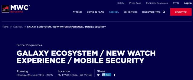 MWC 2021 삼성전자 온라인 세션 소개. '새로운 워치 경험'이라는 문구가 눈에 띈다. 사진=MWC 2021 홈페이지
