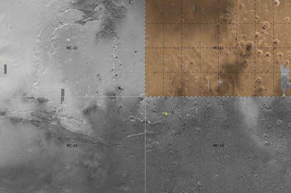 예제로 분화구를 촬영한 가공되지 않은 원본 이미지 일부. 사진=NASA