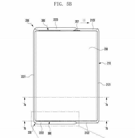 UPC가 적용된 삼성 롤러블폰 특허 이미지 일부. 사진=미국특허청